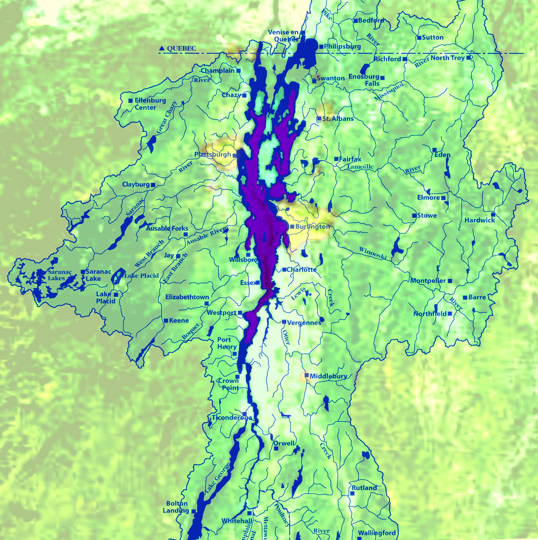 LAKE CHAMPLAIN ECORESOURCES Vermont For Evolution - Lake champlain on us map