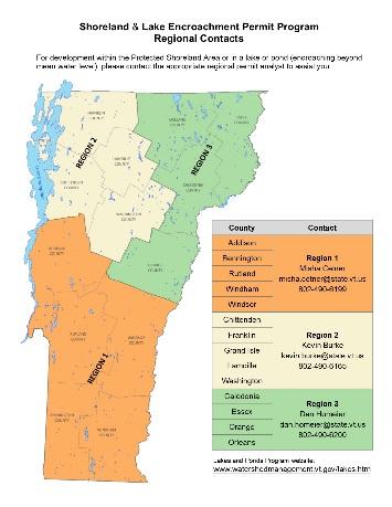 Shoreland & Lake Encroachment Permit Program Regional Contacts